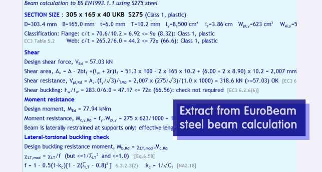 EuroBeam - Eurocode EC3 and EC5 steel and timber beam design